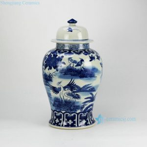 RZFZ02-B Jingdezhen China produce hand paint blue and white crane pattern ceramic bottles jars