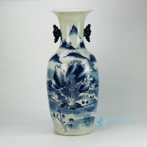 RZFZ04-B Hand paint gorgeous landscape pattern blue and white ornament porcelain big vase