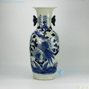 RZFZ04-D Pair bird pattern hand paint blue and white ceramic wedding vase