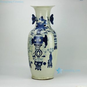 RZFZ04-E hand paint blue and white chinaware double ears table vase