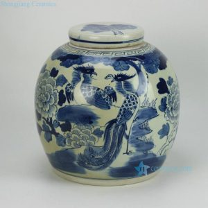 RZFZ05-A hand paint phoenix flower pattern flat lid antique finish ceramic jar