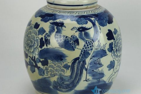 RZFZ05-A hand paint phoenix flower pattern flat lid antique finish ceramic jar
