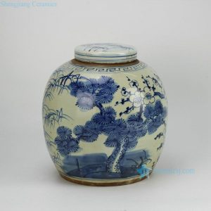 RZFZ05-B three durable plants of winter -- pine , bamboo and plum blossom pattern hand paint blue and white antique porcelain jar