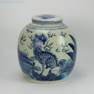RZFZ05-E vintage hand paint chinese kylin pattern blue white porcelain storage bottle