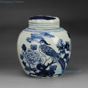 RZFZ06-A Hand paint blue and white bird floral pattern porcelain container