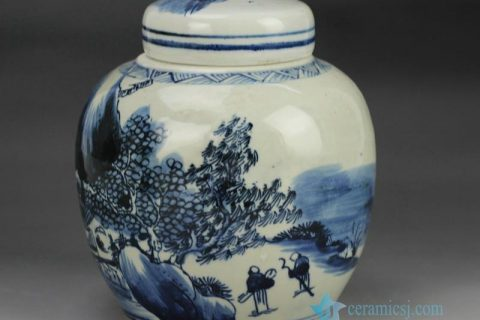 RZFZ06-B Hand paint blue and white countryside life pattern ceramic small jar