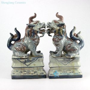 RZGA02 ceramic foo dog figurine