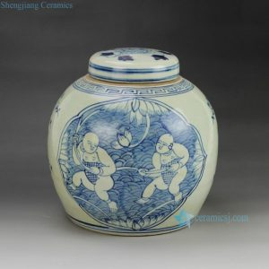 RZGC01-A reproduction hand paint Chinese children pattern blue and white porcelain storage small jar