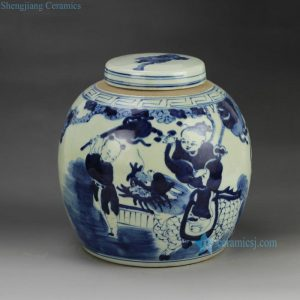 RZGC01-B Hot sale hand paint fair children kylin pattern blue and white porcelain antique pot