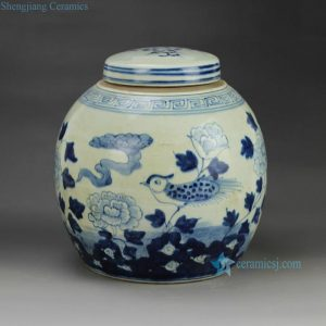 RZGC01-C flower bird pattern hand paint blue white small storage ceramic bottle