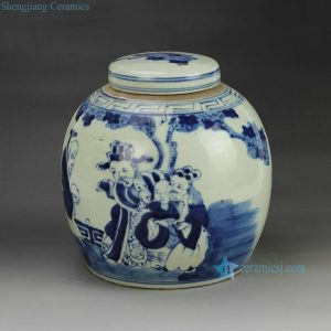 RZGC01-D Hand paint Chinese ancient figures pattern blue and white chinaware pot with flat lid