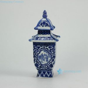 RZGE02 Blue and white ancient folk daily life pattern ceramic pagoda figurine