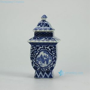 RZGE03 Ancient Chinese folk daily life pattern blue and white ceramic pagoda statue