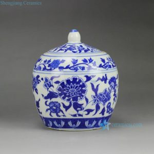 RZGJ01 floral pattern blue and white tiny ceramic tea jar