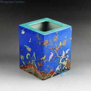 RZGN01 Famille rose square ceramic pencil vase