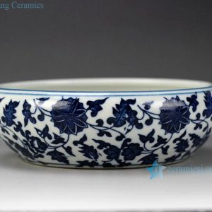 RZGX01 Oriental interlock branch lotus mark blue and white small clay bowl