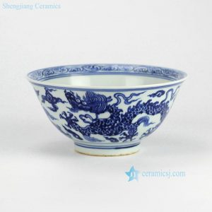 RZHL01-A Hand paint Chinese traditional royal dragon pattern blue and white ceramic dinner bowl