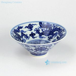 RZHL02-A Funnel shaped hand paint flying dragon blue and white ceramic bowl