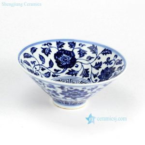 RZHL02-B Funnel shaped wide open mouth hand paint floral pattern porcelain beautiful ceramic bowls