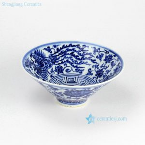 RZHL02-C Hot sale Asian phoenix floral pattern funnel shape best chinaware bowl