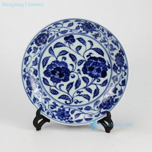 RZHL04-B Hand painted blue and white floral pattern ceramic round ceramic dishes wholesale