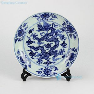 RZHL04-C Hand painted blue and white flying dragon pattern dinner plates