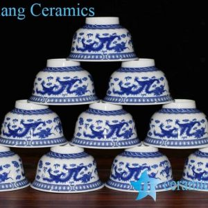 RZHU01-A High temperature fired blue and white China dragon mark ceramic dinnerware bowls