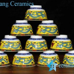 RZHU01-B Colored dragon pattern in-glaze yellow ceramic dinner rice bowls