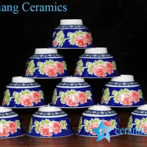 RZHU01-C Peony pattern colorful ceramic bowl