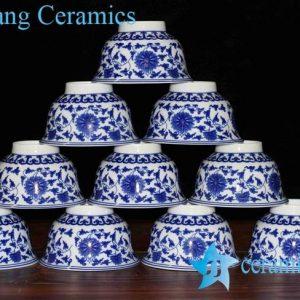 RZHU01-D Inglazed interlock lotus branch pattern ceramic serving bowls