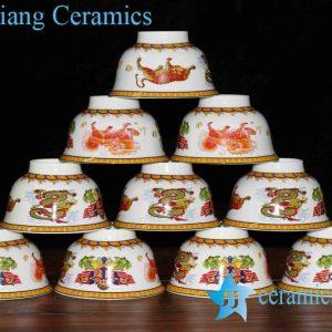 RZHU01-E Fancy in-glaze decoration tiger dragon marks white porcelain serving bowls