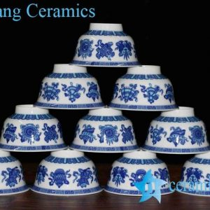 RZHU01-F Colored blue and white eight treasures marks high heel white porcelain serving bowls