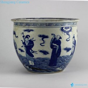 RZHZ01-A Antique blue and white hand paint the eight immortals pattern big porcelain fish bowl