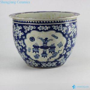 RZHZ01-B Antique hand paint blue and white chinaware indoor ceramic planter
