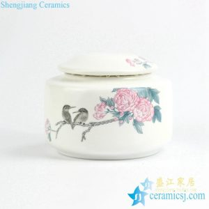 CBAD06 Graceful Matte white glaze bird floral pattern ceramic tea jar