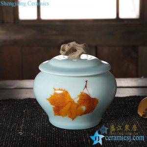 CBAD08-a/b Longquan kiln in-glaze maple leaf mark medium size ceramic tea jar