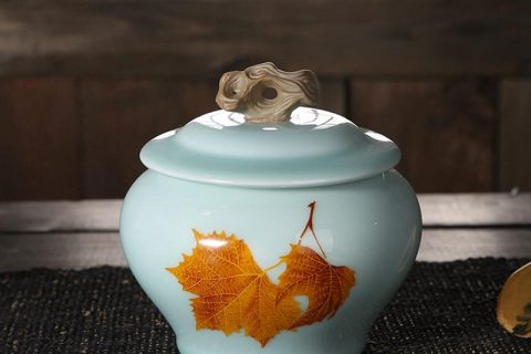 CBAD08-a/b Longquan kiln in-glaze maple leaf mark medium size ceramic tea jar