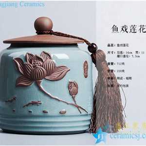 CBAD09 Creative engraved lotus fish design crackle glaze crockery tea jar