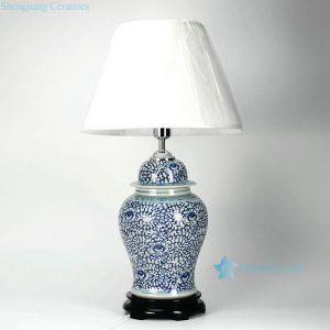 DS30-WD Blue and white interlock lotus branch pattern ceramic ginger jar lamp