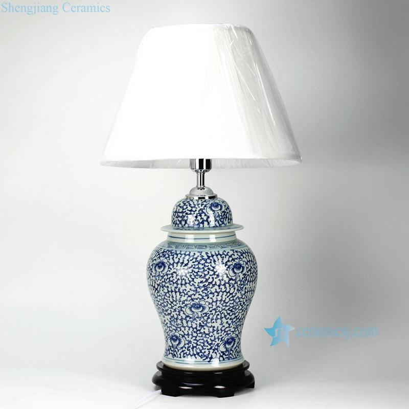 blue and white interlock lotus branch pattern ceramic ginger jar lamp. Black Bedroom Furniture Sets. Home Design Ideas
