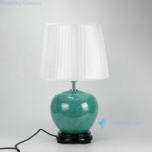DS34-DB Pleated fabric shade jade glaze ceramic beside table modern lamp