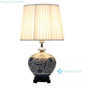DS40-MA Popular blue white floral mark ceramic round antique jar lamps