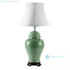 DS41-RYMA Best selling lime green bamboo stripe design Chinese ginger jar lamps
