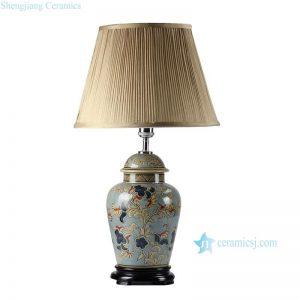 DS44-RYPU New design floral pattern vintage ceramic ginger jar lamp