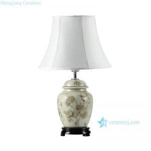 DS45-RYPU Peony mark Victoria style porcelain ginger jar lamps
