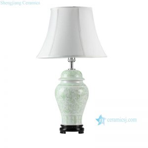 DS51-RZFX Wholesale Celadon engraved floral pattern ceramic ginger jar lamp