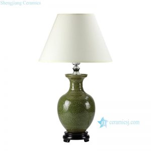 DS52-RZDF-2 Moss green glaze engraved floral branch pattern pottery beside table lamp