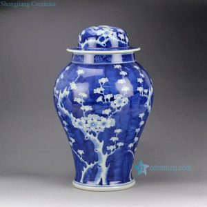 DS65-RYLU Hand paint blue white ceramic winter sweet pattern factory outlet small ceramic ginger jar lamps