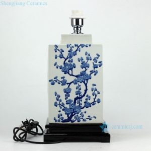 DS66-RYQQ Hand paint winter sweet pattern hot sale blue white ceramic square jar lamp