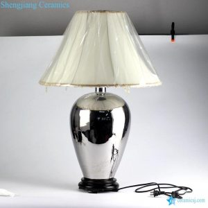 DS75-RYNQ Grace silver glided with tassels fabric lamp shade base switch chinaware modern floor lamp